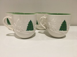 4 Starbucks 2006 Mug lot 3D Christmas Tree Winter Sledding Holiday 16 oz. - $34.75