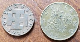 "1924 Austria 2 Groschen Coin 3/4"" & 1982 1 Schilling Eidelweiss Flower 7/8"" - $3.95"