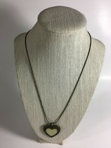 """Vintage 1980's Necklace 19-21"""" Mother of pearl heart shape Brass Color M... - $11.63"""