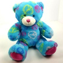 "Build a Bear Peace Teddy Bear Plush Stuffed Animal 15"" 2010 Blue  - $14.84"