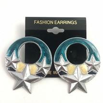 Vintage Enamel Star Pierced Earrings Round Dangle  Blue Silver Tone Big ... - $7.87