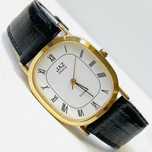 Vintage JAZ Paris Women's Gold Watch Black Leather X1TQ63 WORKS! - $49.45