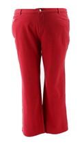 Quacker Factory Pockets Knit Denim Boot Cut Pants Red 24W NEW A210141 - $29.68