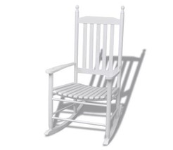 Wooden Rocking Chair W/ Curved Seat White Living Room Furniture Wood Sea... - $134.99