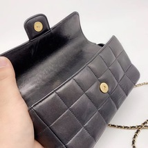 AUTHENTIC CHANEL Lambskin Camellia Mini Flap Black Flap Bag GHW image 6