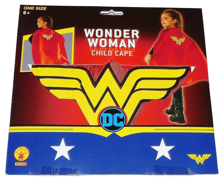 NEW Girls Kids DC Comics Dress Up Costume Halloween Red Yellow Wonder Woman Cape