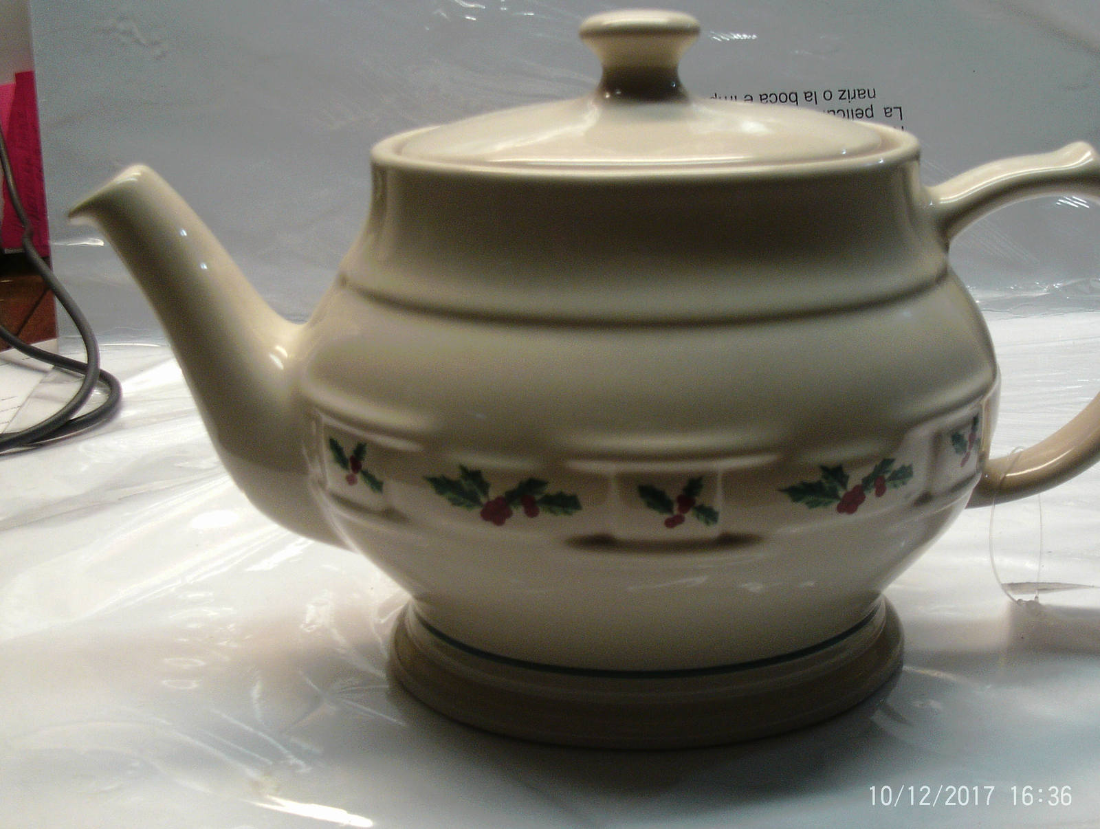 Primary image for Vintage Holiday Ceramic Creamer Pitcher with raised designs, white