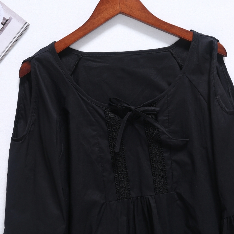 2018 Women Summer Flare Sleeve O-neck Blouse Top Plus Size Ruffle Crewneck Belt