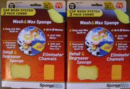 SpongeTech Car Wash System 3 Pack Combo Lot 2 Soap Wax Degreaser Chamois... - $9.49