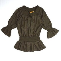 URBAN MANGO Semi Sheer Brown Embroidered Puff Sleeve Flowy Peplum Blouse... - $9.89