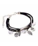 Tess Handmade Multi-Layer Leather & Silver Charm Bracelet - $10.79