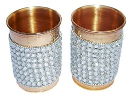 Pure Copper Silver Crystal Studded Glass Set of 2 - $20.64