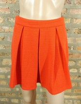 Forever 21 Red Orange Textured Knit Pleated Fit & Flare Skater Mini Skirt S - $6.80