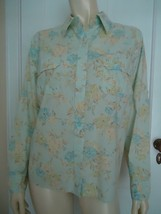 Eddie Bauer Blouse PL Cotton Floral Button Front Shirt Chest Pockets Light Blue - $34.62