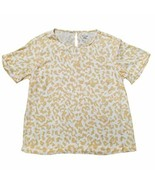 A New Day Womens S/S Keyhole Back Lightweight Blouse, Tan (Leopard Print) - $18.99