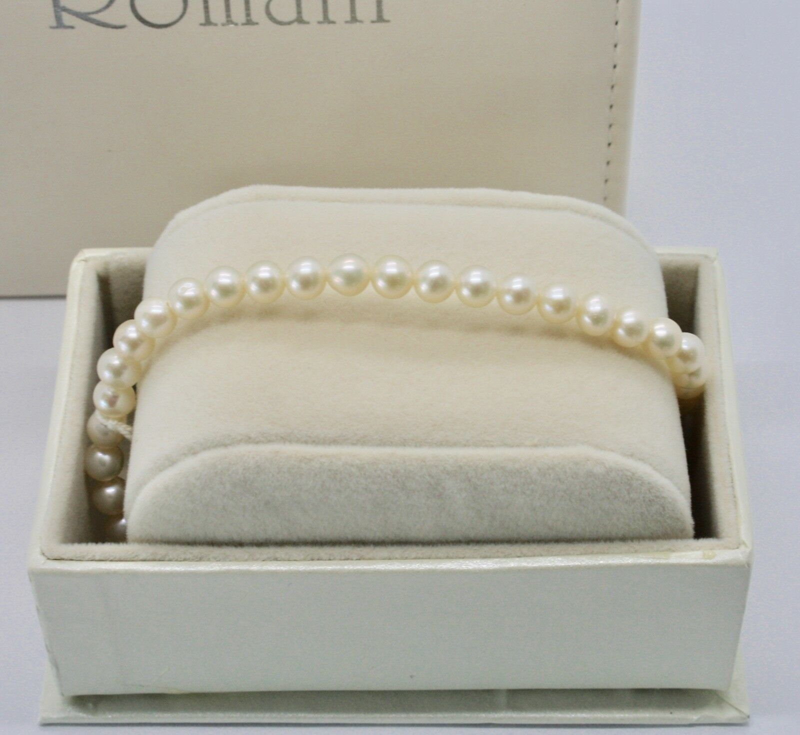 Primary image for White Gold Bracelet 18KT and Silver 925 with Pearls 5.5 6 mm Beautiful Box