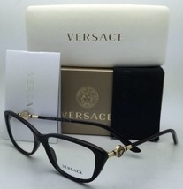 Nuovo Versace Occhiali da Sole Ve 3206 GB1 54-15 Nero & Oro Frame W/Trasparente