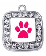 Dog Charm - Square Paw with Crystals Jewelry Silver-tone dog pawprint ch... - $4.90