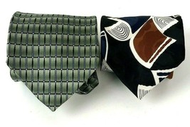 Neck tie lot of 2 Daniel Craig Zylos George Machado 100% Silk Mod geometric - $14.84
