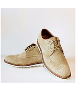 Men's Handmade Casual Shoes, Beige Suede Wing Tip Lace Up Casual Shoes - $144.99+