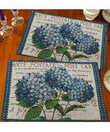 """Set of 2 New Tapestry Placemats, 13"""" x 19"""", BLUE FLOWERS POST CARD by HC - $12.86"""