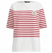 Lauren Ralph Lauren Women's Monogram Stripe White/Red Boatneck T-Shirt S... - $16.75