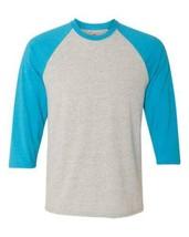 Hanes X-Temp Unisex Small Baseball Jersey Light Steel/Neon Blue Performa... - $11.49