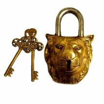 Functional Brass Padlocks with Two Keys Lion Head Shape (Golden) - $48.49