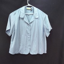 Notations Blouse Shirt Size 26/28W Blue Gray Polyester Short Sleeve - $16.78