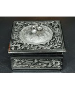 Hand painted decorative box silver designs on black with Concho 3 x 3 x 1.5 - $10.00