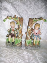 VINTAGE BISQUE PORCELAIN CHILDREN FIGURES BOY & GIRL ON SWING - $19.79