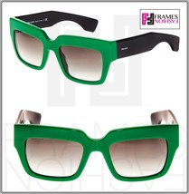Prada Poeme Square Chunky PR28PS Black Green Unisex Sunglasses SMP-0A7 Spr 28P - $257.40