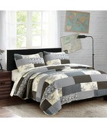 Quilt Bedding 3/pc Gift Sets blocks ivory black gray King Queen Twin  - $85.00+