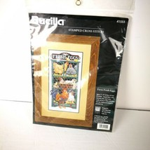 Bucilla Stamped Cross Stitch Kit Farm Fresh Eggs Cloth & Chart 1996 Kitchen - $24.74