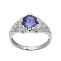 Solid 925 FINE SILVER 7 MM Round SIMULATED TANZANITE Gemstone Solitaire ... - $19.58