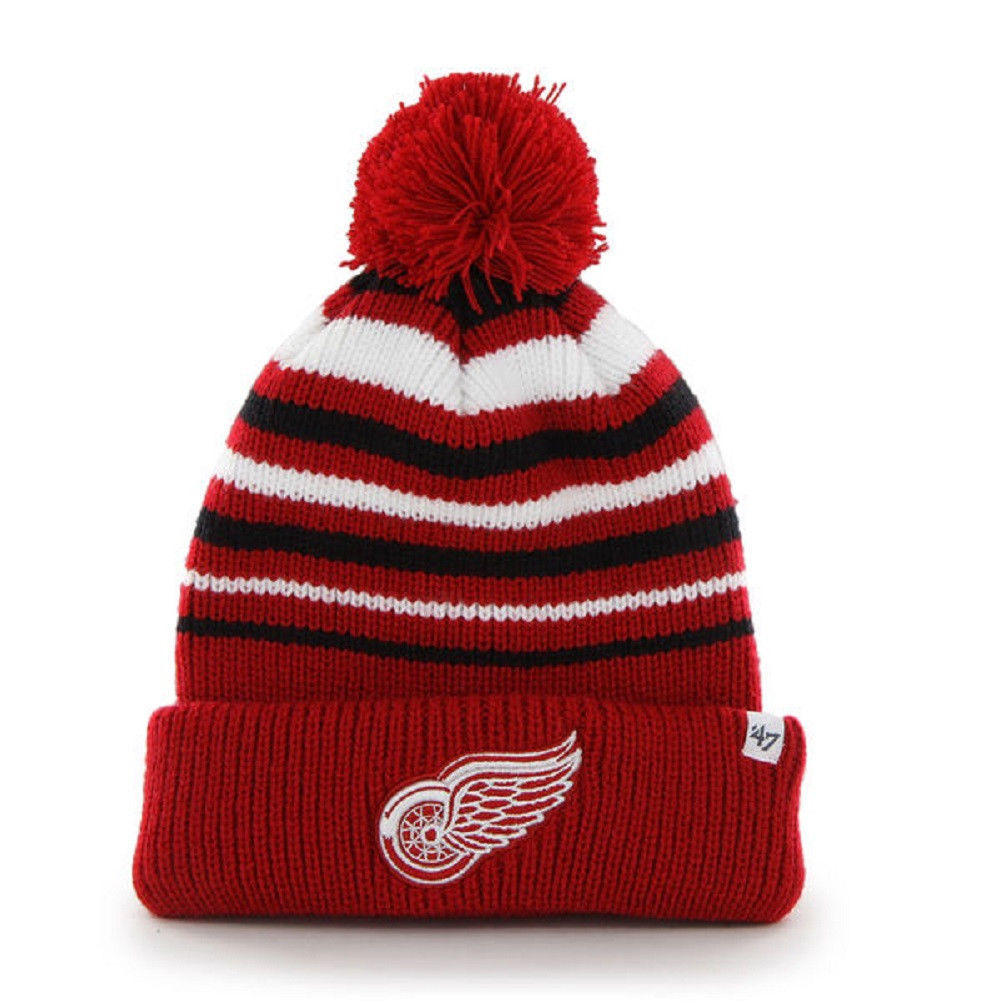 Detroit Red Wings Beanie NHL Incline Cuff Pom Knit Hat Men's One Size Winter