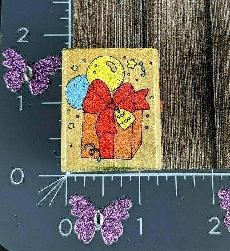 Primary image for Dakin Birthday Gift For You Present Balloons Ribbon Bow Rubber Stamp Party #F41