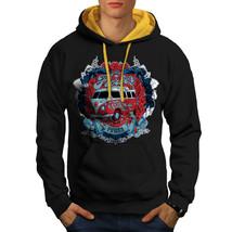 Flower Power Hippy Sweatshirt Hoody Camper Van Men Contrast Hoodie - $23.99+