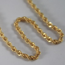 18K YELLOW GOLD CHAIN NECKLACE, BRAID ROPE 18 INCHES, 45 CM LONG, MADE IN ITALY image 2