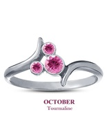 October Birthstone Pink Tourmaline 14k White Gold 925 Silver Mickey Mous... - $25.99