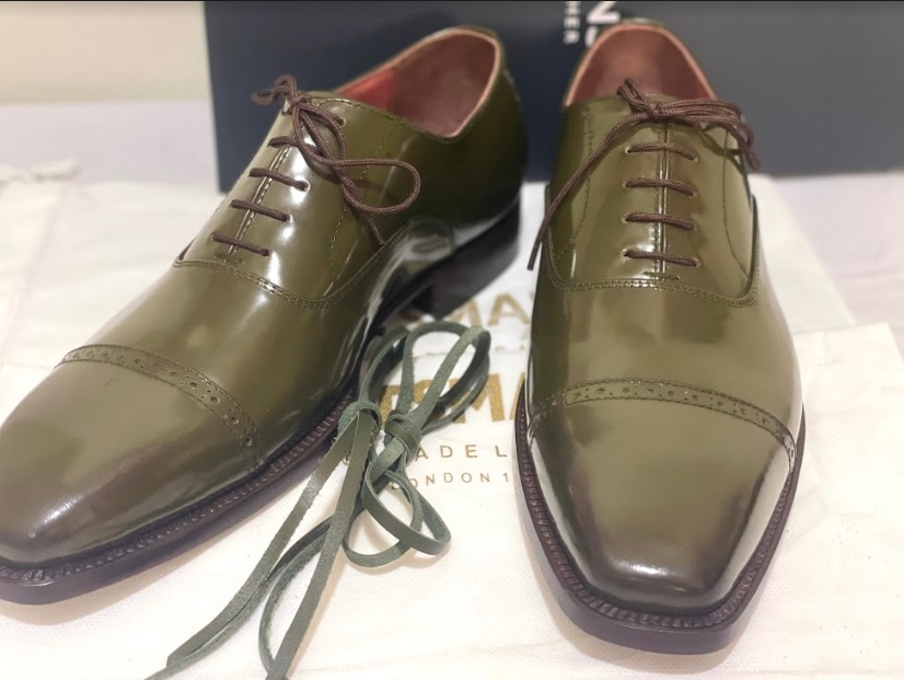 Handmade Men's Green Leather Lace Up Dress/Formal Oxford Shoes