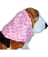 Pink White Hearts Sparkle Cotton Handmade Dog Snood Size Large - $12.50