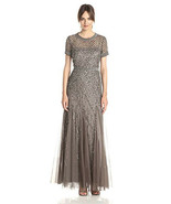 Adrianna Papell Women's Short-Sleeve Beaded Mesh Gown - $119.99
