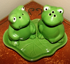 Frog Salt & Pepper Shakers on Lilly Pad tray-Heavy Ceramic - $12.50