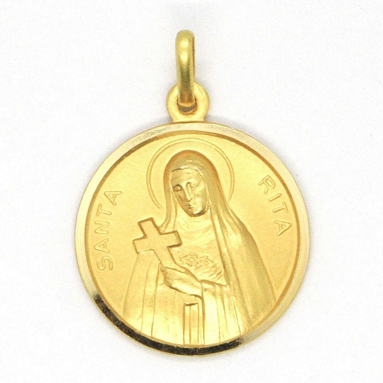 SOLID 18K YELLOW GOLD HOLY ST SAINT SANTA RITA ROUND MEDAL MADE IN ITALY, 15 MM