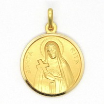 SOLID 18K YELLOW GOLD HOLY ST SAINT SANTA RITA ROUND MEDAL MADE IN ITALY, 15 MM image 1