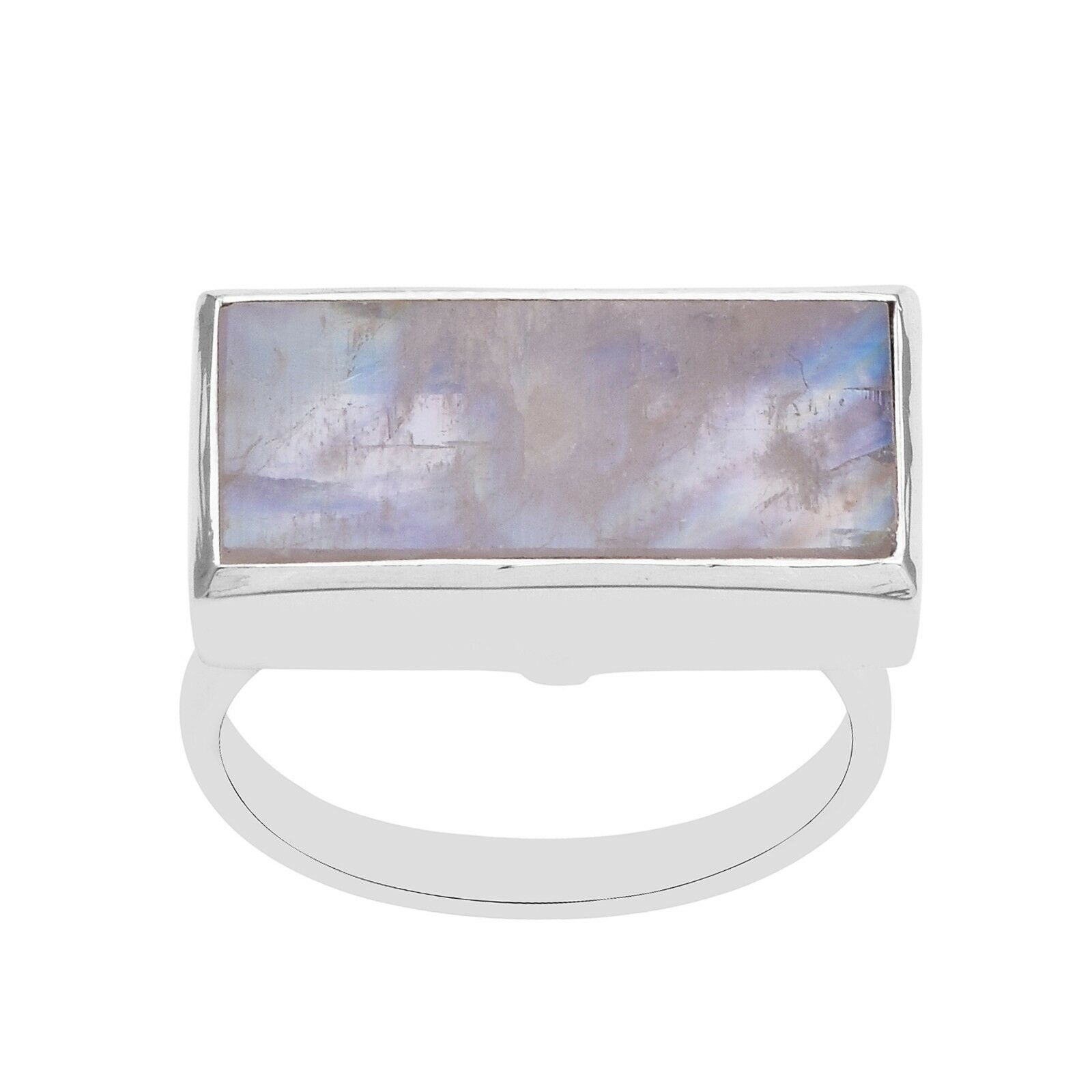 Solid 925 Silver Ring Women/Girls Rainbow Moonstone Rectangle 8X18 mm Ring Bezel