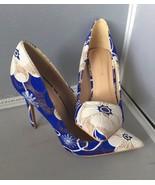 Shoe Republic La pointy toe stiletto floral design Blue/White Size 8.5 - $24.95
