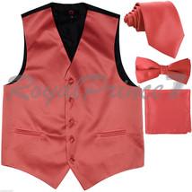 Coral Solid Tuxedo Suit Vest Waistcoat and Neck tie Bow Tie Hanky Wedding Party - $20.77+