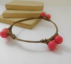 Vintage Antiqued Gold Wire Wrapped Pink Art Glass Bead Boho Bangle Brace... - $13.59